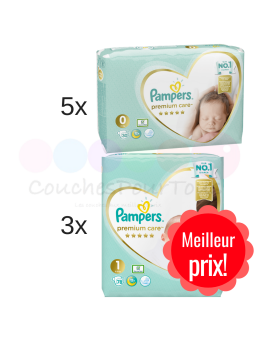 172 COUCHES taille 1 + 288 COUCHES taille 2 PAMPERS NEW BABY DRY