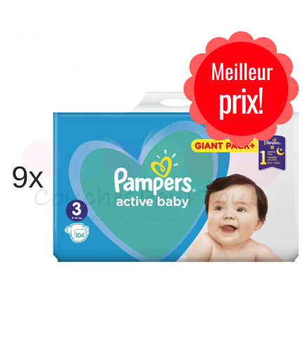 456 COUCHES PAMPERS ACTIVE BABY taille 4 + 6x56 PAMPERS SENSITIVE