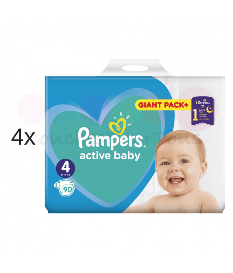 270 COUCHES taille 3 + 304 COUCHES taille 4 PAMPERS ACTIVE BABY DRY